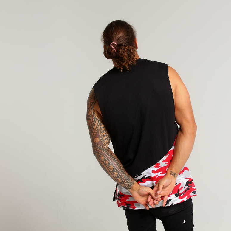 Carré Camo Diagonal Muscle Tee Red Camo/Black