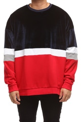 NEW SLAVES STATEMENT CREW NECK NAVY/RED/WHITE
