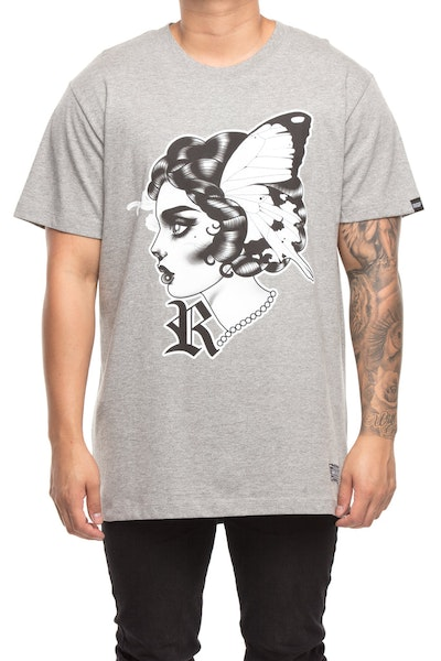 Rats Get Fat X Ly Moloney Butterfly 2 Tee Grey