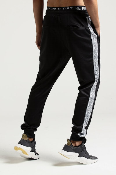 New Slaves Paisley Stripe Track Pant Black/White