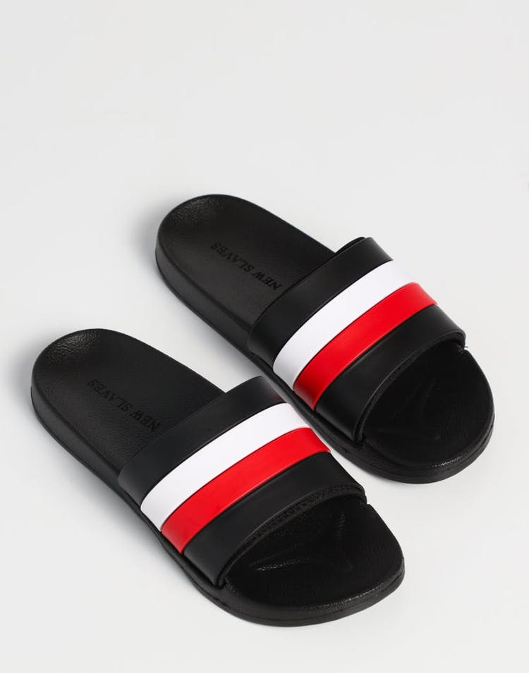 79764e8b007 New Slaves Mane Slide Black White Red – Culture Kings