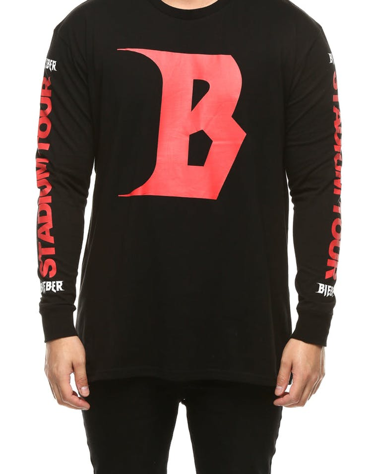 Justin Bieber Stadium Tour LS Tee Black/Red