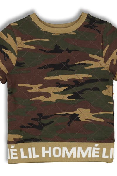 c58ceb105 Lil Hommé Signal Quilted SS Sweater Camo
