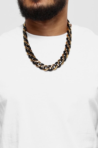 "Saint Morta Cuban 24"" 19MM Chain Black/Gold"