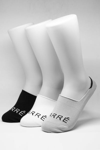 Carré Core No-Show Sock 3 Pack White/Black/Grey
