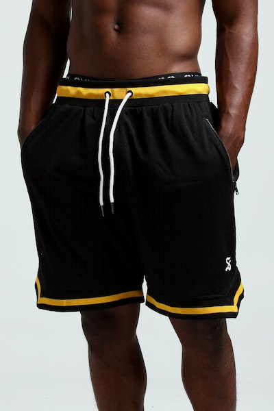Saint Morta Mesh Basketball Short Black/Mustard