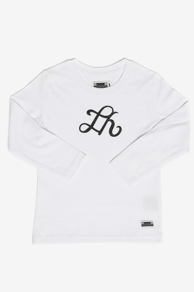 Lil Homme Initial Long Sleeve Tee White