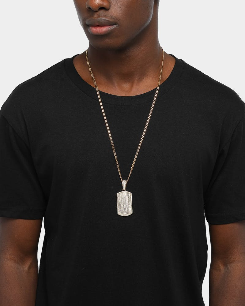 Saint Morta Men's Iced Dog Tag Pendant Iced Gold