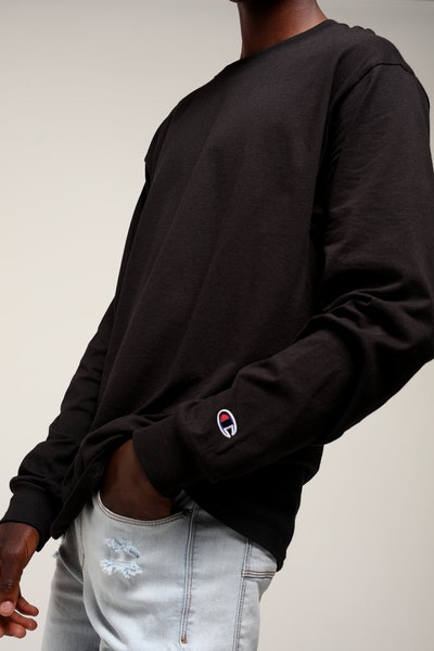 Champion Blanks Long Sleeve Tee Black