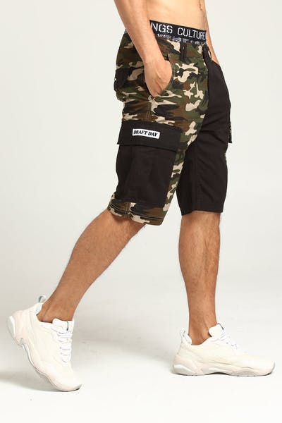 Draft Day Split Load Cargo Short Black/Camo