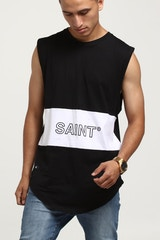 SAINT MORTA OCEANS PANELLED MUSCLE TEE WHITE/BLACK