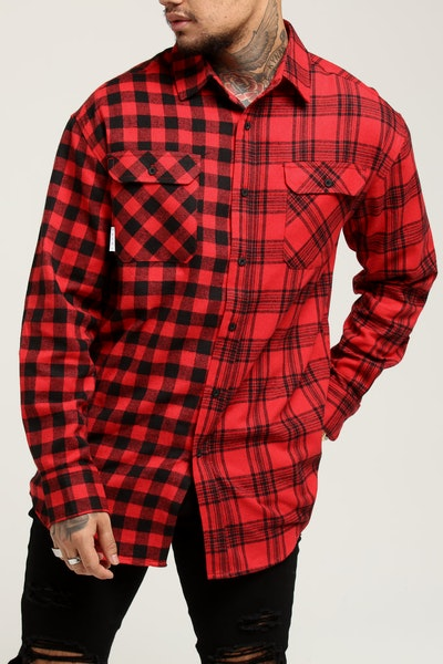 Saint Morta Duo LS Flannel Shirt Red/Black