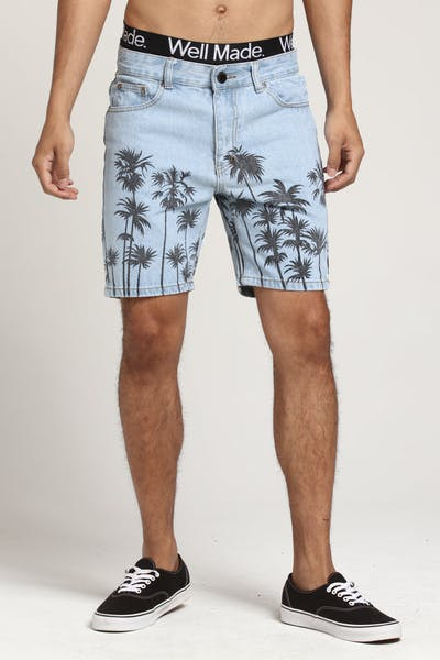 Criminal Damage Palm Denim Shorts Blue/Black