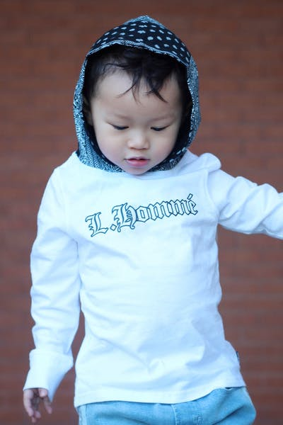 Lil Hommé LH Bandit LS Hooded Tee White/Black