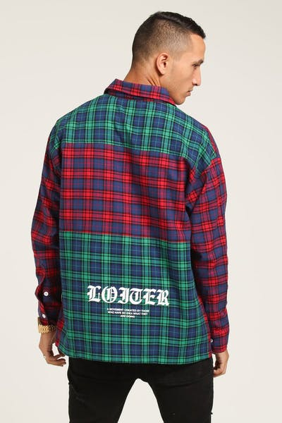 Loiter NYC Colour Block Tartan Button Up Flannel Magenta/Green