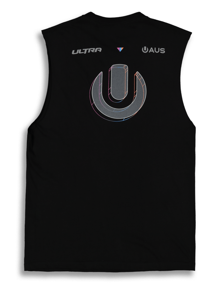 Ultra Australia Music Merch Rainbow Wire Frame Muscle Tee Black