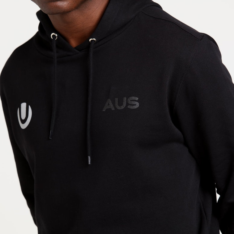 Ultra Australia Music Merch Pocket Logo Sleeve print Hood Black