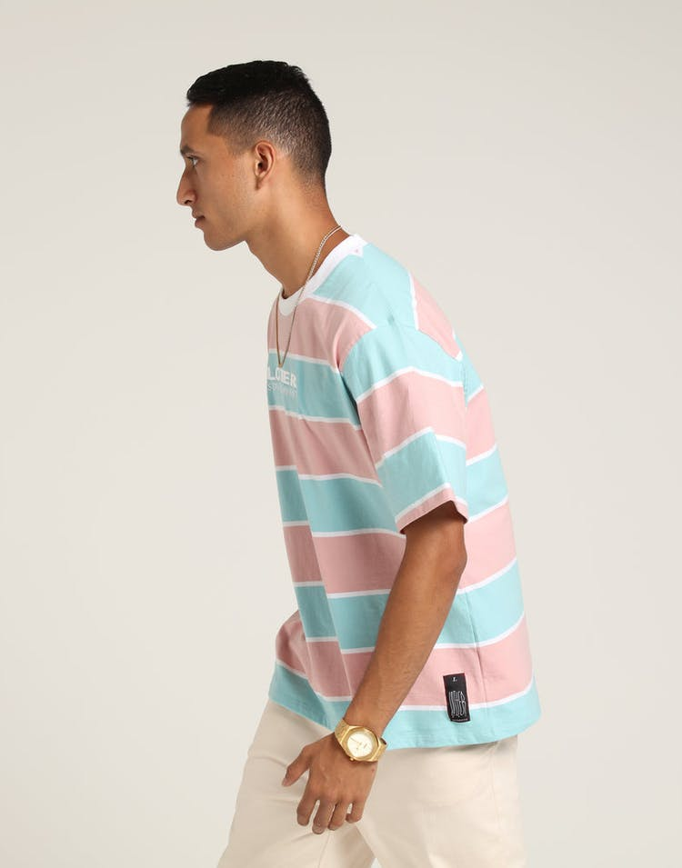 Loiter NYC Thick Stripe Tee Pastel Blue/Pin
