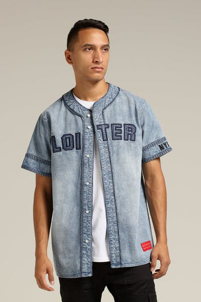 Loiter NYC Denim Base Ball Jersey Blue Wash