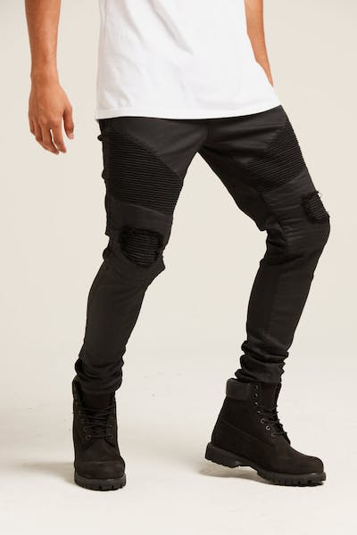 Last Kings Biker Waxed Denim Jeans Black