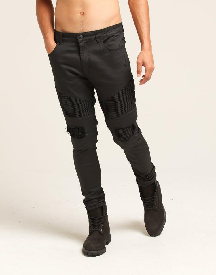 82f6baac01 Last Kings Biker Waxed Denim Jeans Black – Culture Kings