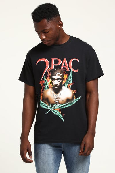 Tupac Fire Leaf Vintage Tee Black