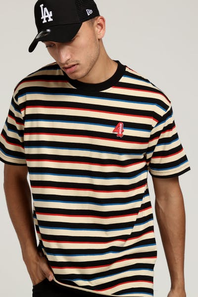 4HUNNID Mini Logo Stripe Tee Red/Black