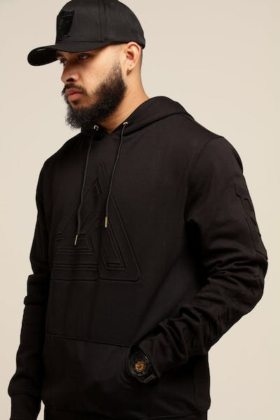 Black Pyramid Embossed Logo Hoody Black