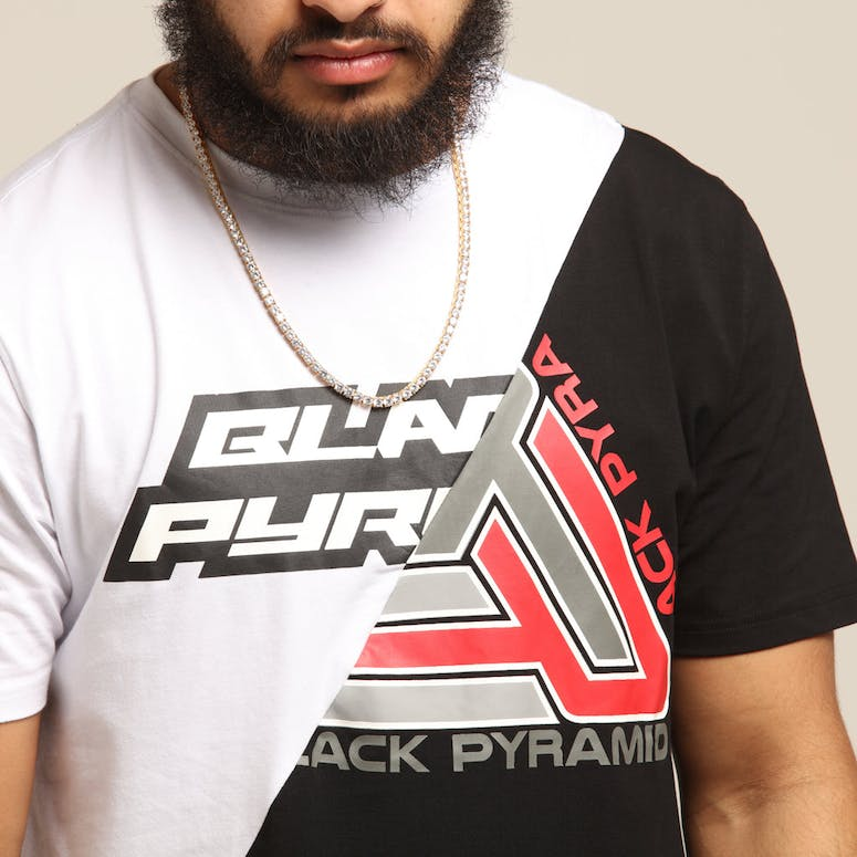 BLACK PYRAMID SPLIT ZIG ZAG STITCH SHIRT WHITE/BLACK