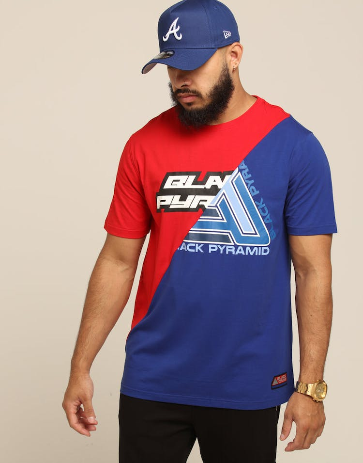 Black Pyramid Split Zig Zag Stitch Shirt Red/Blue