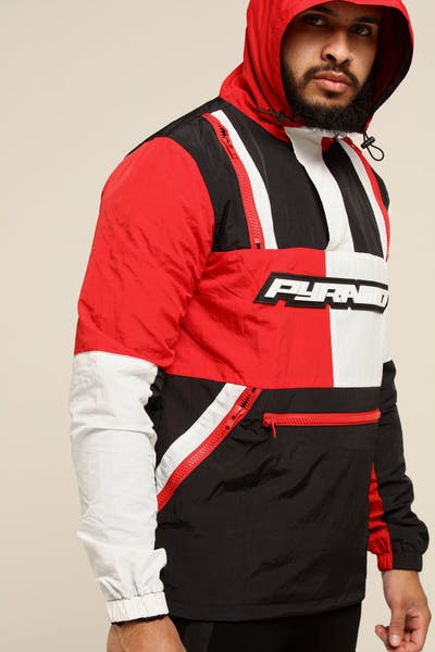 Black Pyramid Tech Block Pullover Jacket Red/Black/White