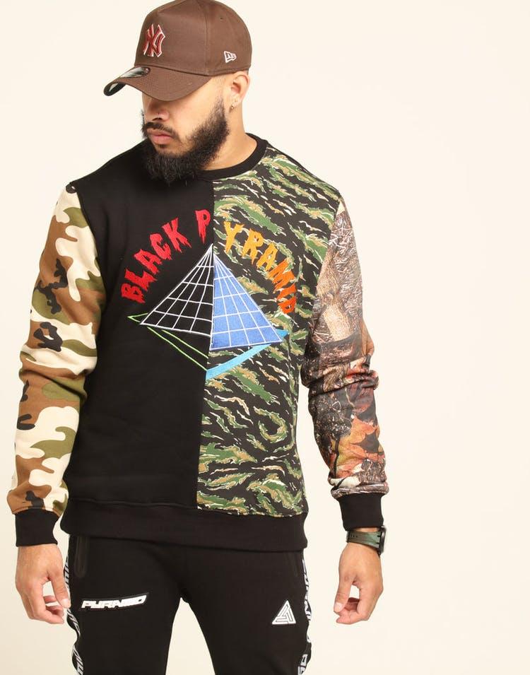 Black Pyramid Multi Camo Offset Logo Crew Multi-Coloured