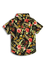 LIL HOMMÉ TROPIC BUTTON-UP SHIRT BLACK/GREEN/RED