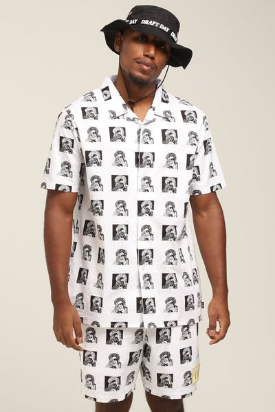 Draft Day FTD SS Button Up Shirt White