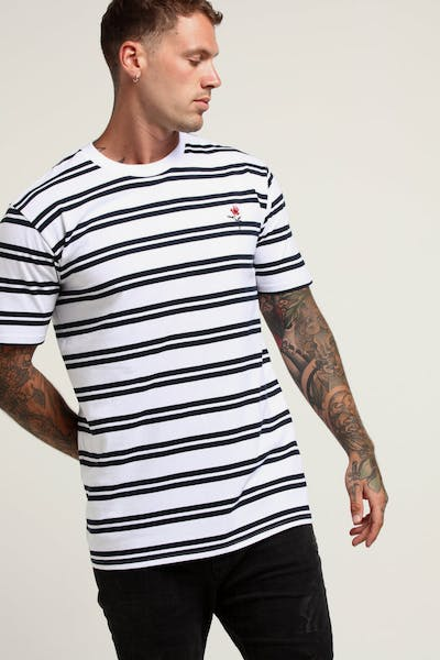 DISTRICT GOODS Stripe Tee White/Navy