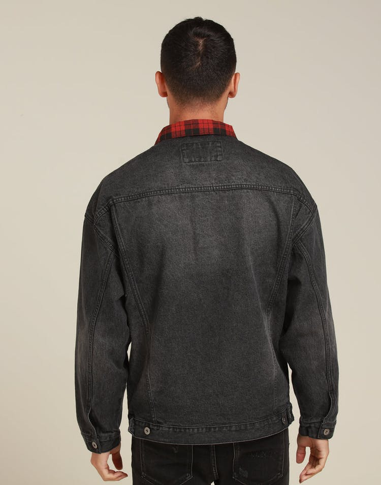 New Slaves Tartan Denim Jacket Black