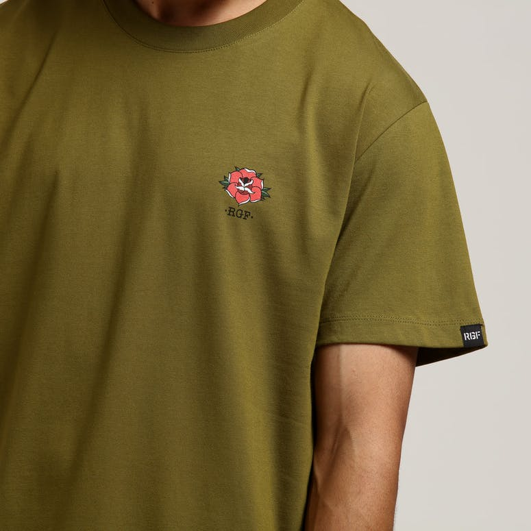 Rats Get Fat Full Bloom SS Tee Army