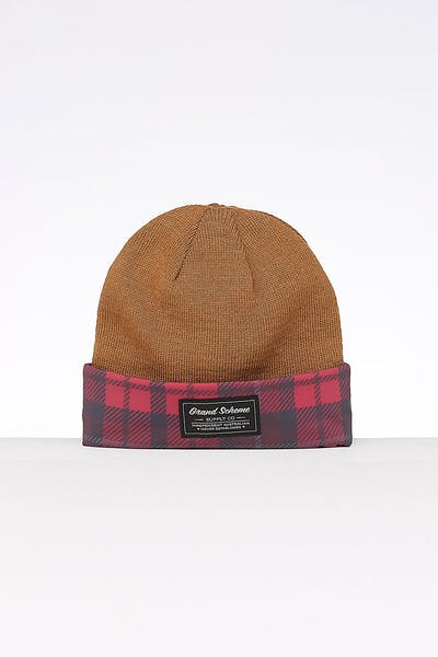 Grand Scheme Duck Season Reversible Beanie Camel/Tartan