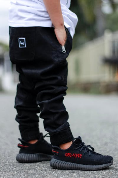 Lil Hommé Biker Panel Jogger Black Denim