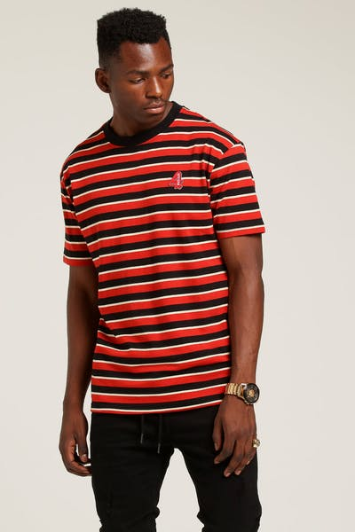 4HUNNID Stripe 4 Logo Tee Red