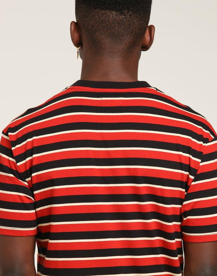 59087851ef934 4HUNNID Stripe 4 Logo Tee Red – Culture Kings