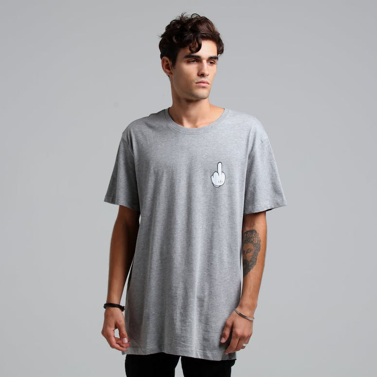 Goat Crew Middle Finger SS Tee Grey