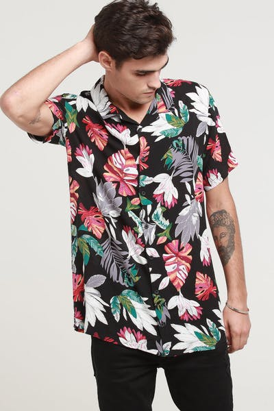 New Slaves Pink Haven Button Up Shirt Black/Multi-Coloured
