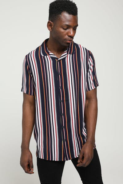 New Slaves 70s Stripe Shirt Navy/White/Burgundy