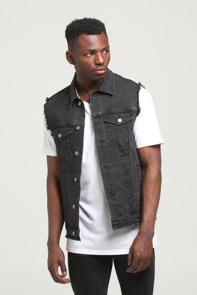 District Goods Vanish Vest Black Stonewash