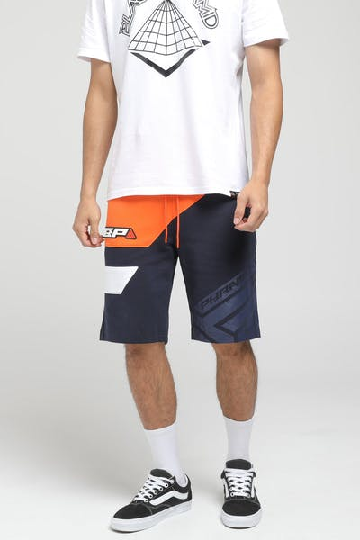 Black Pyramid Diagonal Split Shorts Orange