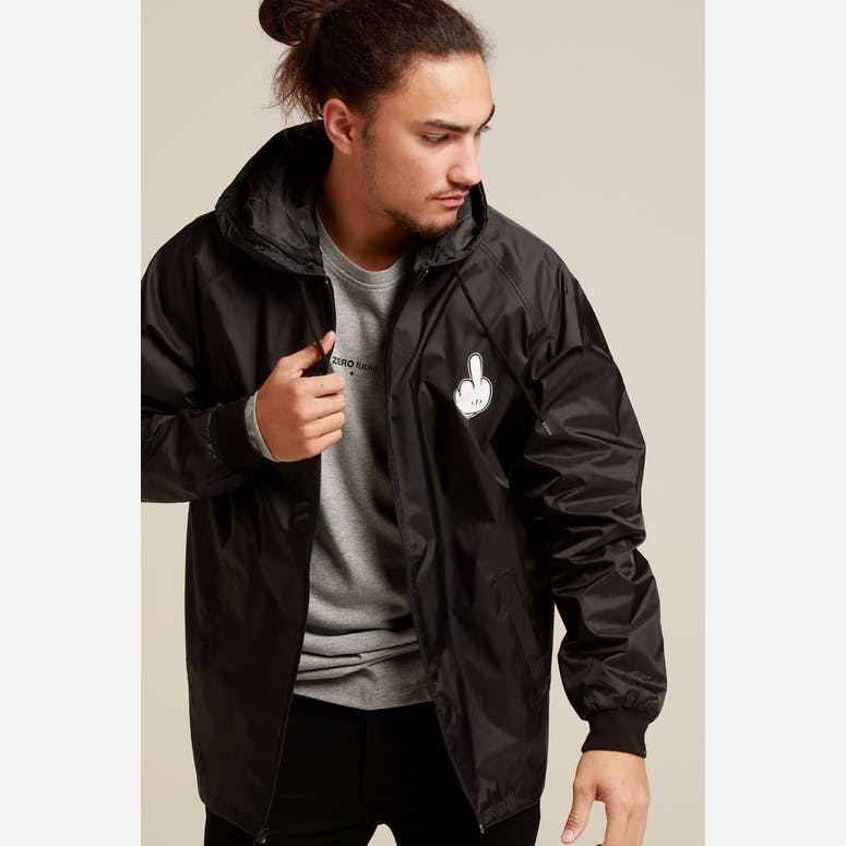 Goat Crew Middle Finger Windbreaker Jacket Black