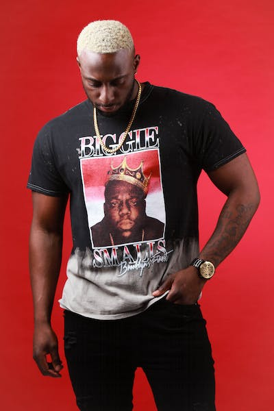 NOTORIOUS B.I.G BROOKLYN'S FINEST VINTAGE DIP TEE Black/Grey