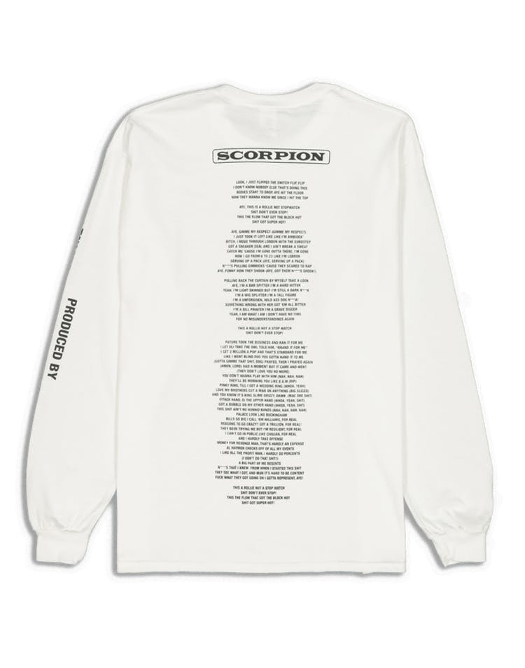 Drake Scorpion Merch NonStop 3M LS Tee White/3M Reflect