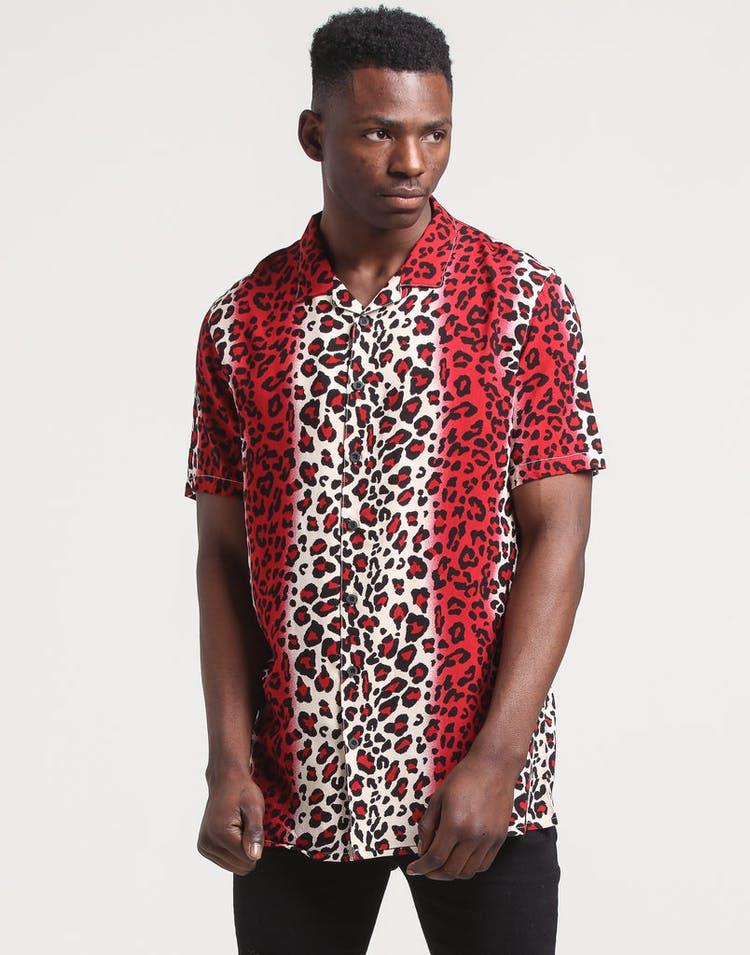 New Slaves Red Leopard Shirt Red/Beige/Black